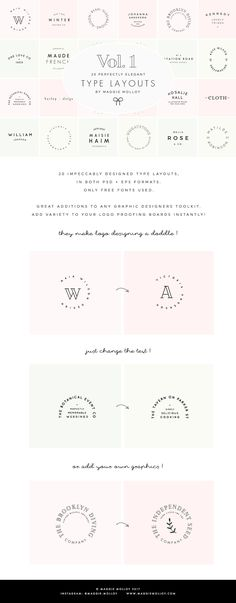 Type Layouts Vol. 1 Text Based Logos by Maggie Molloy on @creativemarket