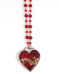www.brokencherry.com #jewelry #rosary #rockabilly #classichardware  Sinner Heart Pendant Necklace   $48.00