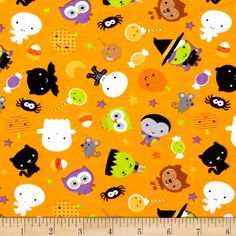Riley Blake Cotton Jersey Knit Ghouls Main Orange from @fabricdotcom  From Riley Blake Fabrics, this lightweight stretch cotton jersey knit fabric features a smooth hand and about a 50% four way stretch for added comfort and ease. It is perfect for making t-shirts, loungewear, yoga pants and more! Colors include orange, black, green, grey and white.