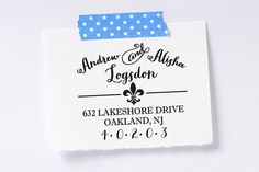 Home & Living  Office  Return Address  address stamp  diy wedding  invitation  housewarming gifts  save the date wedding stamp  self inking stamp  french  paris  fleur-de-lis  fleur-de-lys  flower of the lily Wedding  Moving  New Home  Personalized by brittanylaurendesign