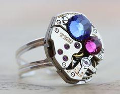 Steampunk Ring Mother's Ring Custom by inspiredbyelizabeth on Etsy