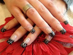 eye candy Nails & Training - Nails Gallery: Black tips with freehand nail art by Elaine Moore on 21 February 2012 at 13:43