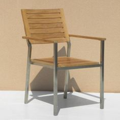 Siro Teak and Stainless Steel Outdoor Stacking Arm Chair