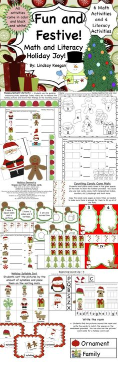 Christmas Math and Literacy Activities for K/Ist