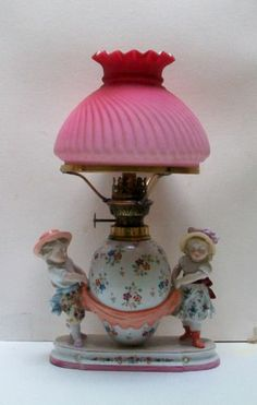 19th Century K P M Nursery Oil Lamp Young Girl and Boy with Pink Shade | eBay