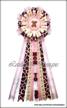 Jungle Safari Zoo Pink Giraffe Onesie Theme Baby Shower Corsage Pin Keepsake -Cold Porcelain Favor Pink Ribbon Baby Girl Capia Mom to Be Mum by lezliezdesigns. Explore more products on http://lezliezdesigns.etsy.com