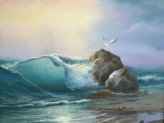 Oil painting - the living art! Seascape Paintings, Landscape Paintings, Oil Paintings, Ocean Scenes, Wave Art, Sea Art, Watercolor Landscape, Ocean Waves, Nature Pictures