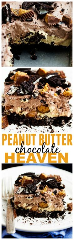 This Peanut Butter Chocolate Heaven is one of the BEST desserts you will make! Layers of oreo, peanut butter cheesecake, and a chocolate pudding whipped topping! HEAVEN! #dessert #recipes #easy #delicious #recipe
