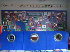 Submarine role play area <<<can turn into a puppet show stage, make sea life puppets to play out what students see under the sea