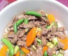 Chinese Stir Fry Beef & Vegetables  Ingredients :  4-500 grams Rump Steak (sliced Chinese style into bite-size pieces)  1 tablespoon oyster sauce   2 teaspoons soy sauce   1 teaspoon Chinese wine/dry sherry/port   1 teaspoon cornflour (optional - this will thicken the sauce)  2 slices ginger (about the size of a 20 cent piece)  1 clove garlic   35 grams oil   salt & peper   400 grams vegetables, mixed (sliced Chinese style into bite-size pieces)