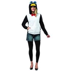 Adult Penguin Hoodie Costume Black & White Large/X-Large Buy Halloween Costumes, Easy Costumes, Adult Costumes, Costume Ideas, Trendy Halloween, Baby Halloween, Halloween Ideas, Big Blue Eyes, Black Hood