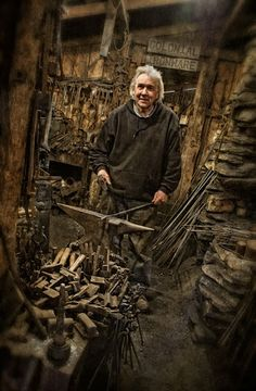 Master blacksmith Jerry Darnell in his workshop, North Carolina - photo by Dan Routh.