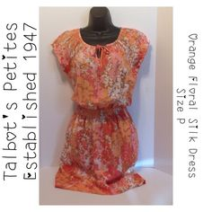 """Talbots Orange Watercolor Floral Silk Dress - Sz P Final Price Approx measurements (flat): Armpit-to-Armpit: 17"""" (without stretching) Length: 39"""".   Elastic sleeves and waist. 100% Silk.  Two side pockets. Never worn, but I am marking as used in Good Condition since it has been in the closet for a minute.   Made in China.  Happy Poshing!  Final Price Talbots Dresses"""