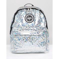 Hype Holographic Galvanised Backpack ($31) ❤ liked on Polyvore featuring bags, backpacks, silver, daypack bag, silver holographic backpack, silver bag, zip top bag and white bag