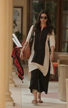 Panchi Solid Black & White Bollywood style cotton Piku kurti@ Rs.246.00