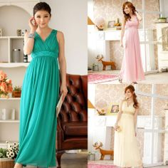 New Delicate Sequin Lace V-shape chiffon long evening dress 3 color one size-3XL