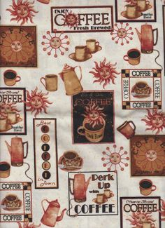 Coffee Cups Pot Sun drink country farm kitchen fabric curtain topper Valance #Handmade