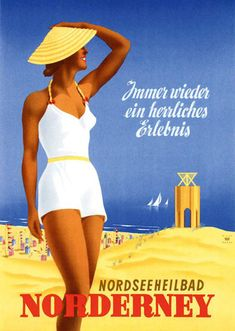 Norderney German 1930s vintage beach travel poster, Lido Germany - #VintageAds