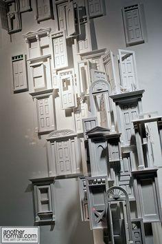 tiny doors, pinned by Ton van der Veer Retail Windows, Store Windows, Window Display Design, Window Displays, Vitrine Design, Vintage Windows, Paper Artwork, Visual Display, Scenic Design
