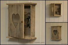 Rustic Wooden Heart Keys Cupboard Kitchen Storage Cabinet