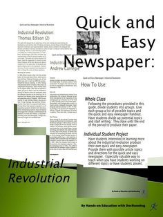Industrial Revolution Newspaper Activity or Collaborative Project ...