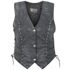 Xelement Women's Studded Biker Leather Vest