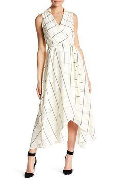 Image of SL Fashions Belted Windowpane Midi Dress