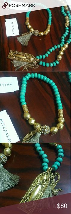 SILPADA NECKLACE AND BRACELET SET Turquoise color with goldtone. WEEKEND SALE Silpada Jewelry Necklaces
