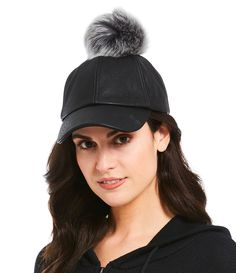 603c1f4137e8f UGG® Leather Baseball Hat with Sheepskin Pom