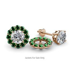 Emerald Halo Jacket for Stud Earrings 052 ct tw in 14K Rose Gold ** Check this out by going to the link at the image.