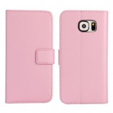 Samsung Galaxy S6 - Genuine Leather Flip Stand Protective Phone Cover Case Wallet - Pink