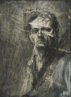"""Frank Auerbach, """"Self Portrait"""". Note how he has worked over an interesting surface.  How can you prepare your working surface before you draw on it?"""