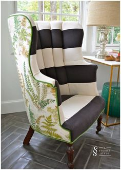 Front & Back Pattern Chair Makeover | A Storied Style | striped chair, botanical back #ChairMakeover