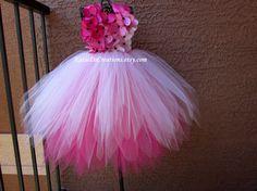 Pixie corte vestido tutú rosa Ombre / flor por KatieDsCreations