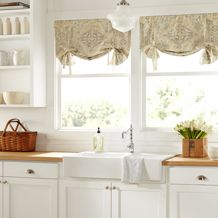 This exquisite linen-blend print recalls ancient mosaics with its regal medallions and intricate geometric patterns. (Country Curtains Antiqued Watercolor Tie-Up Valance)