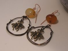 Handmade Copper Amber Agate and Brass Earrings by artintheredwoods, $29.00