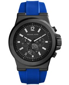 b13a30167b3b Michael Kors Men s Chronograph Dylan Blue Silicone Strap Watch 48mm MK8357    Reviews - Watches - Jewelry   Watches - Macy s