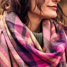 HEYFORD LARGE SQUARE SCARF Joules Uk, Checked Scarf, Square Scarf, Womens Scarves, Plaid Scarf, Woodland, Gloves, Fashion Outfits, Warm