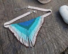 tea rose necklace beadwork necklace fringe necklace seed by UMEUM