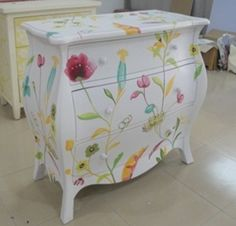 Hand Painted Bedroom Chest with 3 drawers,