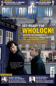 Creative Cross Training Exercise: Doctor Who Meets Sherlock on a faux cover of Doctor Who Magazine. Sherlock Series, Sherlock Holmes, Doctor Who Magazine, I Am The Doctor, Dalek, Girl Inspiration, Time Lords, Baker Street, Book Fandoms
