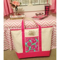 monogram lilly inspired tote