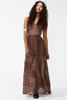 Laced Maxi Dress in Mocha