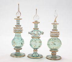 Egyptian Perfume Bottles - Blown Glass Gift Set Of 3 Green- Gold Trim 1026-35