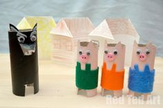 3 Little Pigs for Kids - 60 Homemade Animal Themed Toilet Paper Roll Crafts, http://hative.com/homemade-animal-toilet-paper-roll-crafts/,