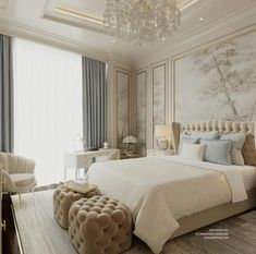 The interior of the nursery for Luxury Bedroom Design, Master Bedroom Interior, Home Room Design, Dream Home Design, Home Bedroom, Modern Bedroom, Home Interior Design, Bedroom Decor, Classic Interior