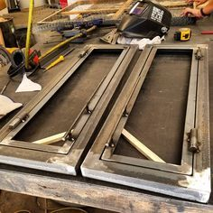 Doors with barrel hinges and pulls. whats everyone think? # Doors with barrel hinges and pulls. whats everyone think? Vintage Industrial Furniture, Reclaimed Furniture, Iron Furniture, Steel Furniture, Metal Projects, Welding Projects, Steel Doors And Windows, Door Gate Design, Welding And Fabrication