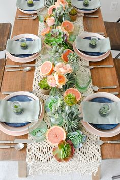 Kara's Party Ideas Mother's Day Boho Citrus Tablescape | Kara's Party Ideas