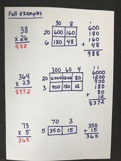 Multiplication Strategies, Teaching Multiplication, Math Vocabulary, Math Strategies, Math Resources, Teaching Math, Math Activities, Box Method Multiplication, Math Fractions