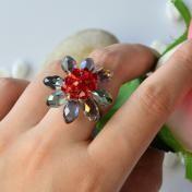 Electroplate Glass Bead Chrysanthemum Ring